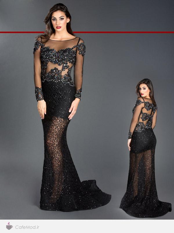 مدل پیراهن بلند با پارچه لمه کافه مد | مدل لباس مجلسي زنانه Black Label