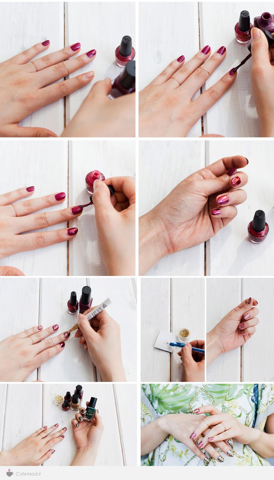 آموزش آرایش ناخن ضربدری