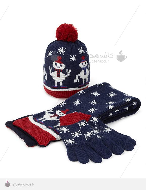 ست شال و کلاه و دستکش بافتنی M&S