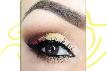 آموزش آرایش چشم با سایه زرد
