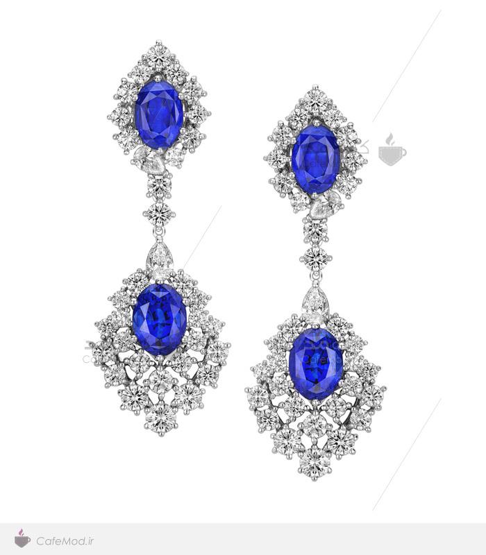 مدل گوشواره جواهر سنگ آبی