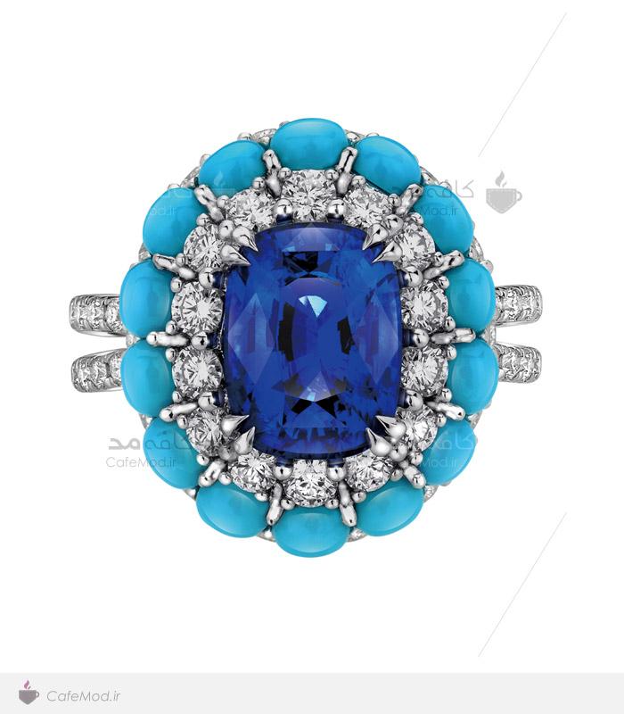 مدل انگشتر جواهر با سنگ فیروزه