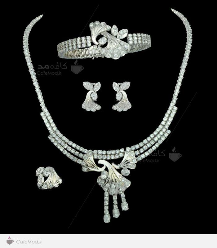 مدل ست جواهرات طلای سفید