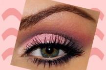 آموزش آرایش چشم صورتی