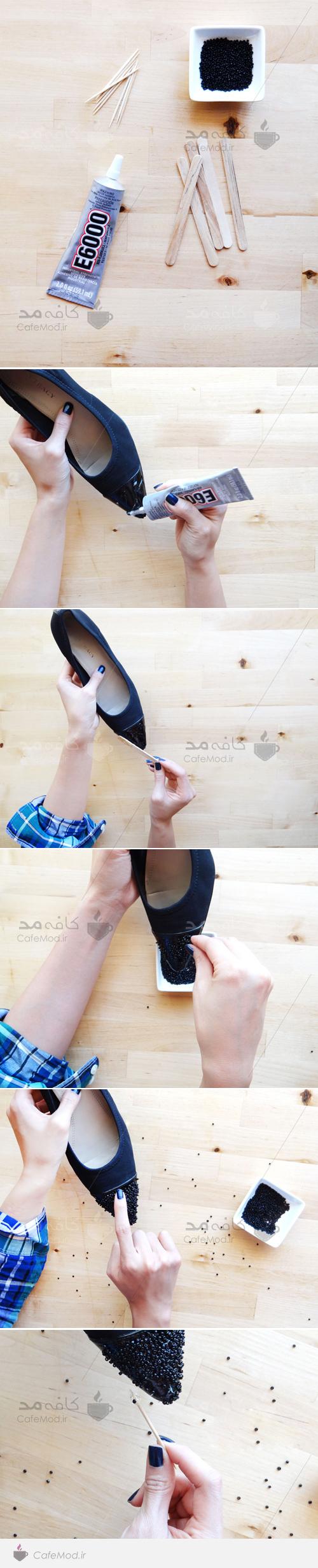 آموزش تزئین کفش با منجوق