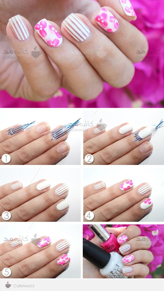 آموزش آرایش ناخن گلدار