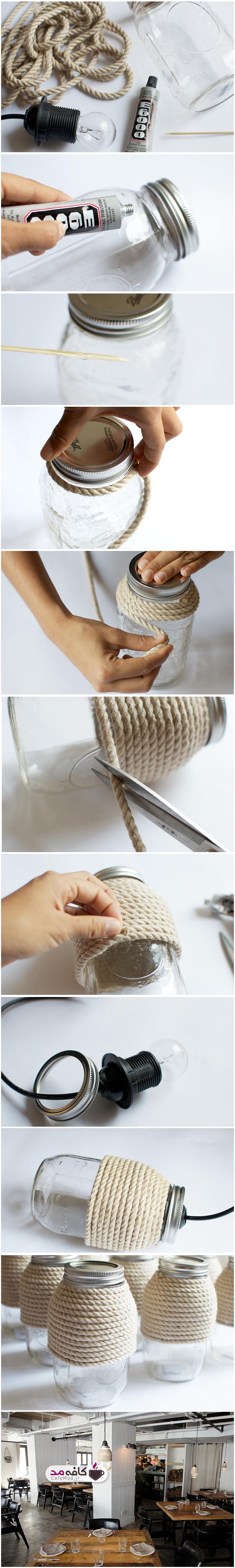 ساخت لوستر با طناب و بطری
