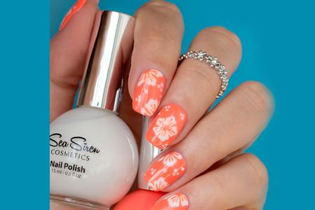 آموزش آرایش ناخن نارنجی گلدار