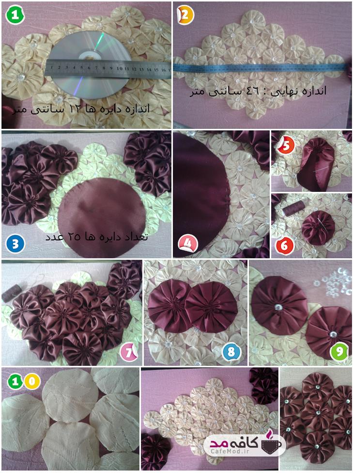 آموزش دوخت رومیزی گلی