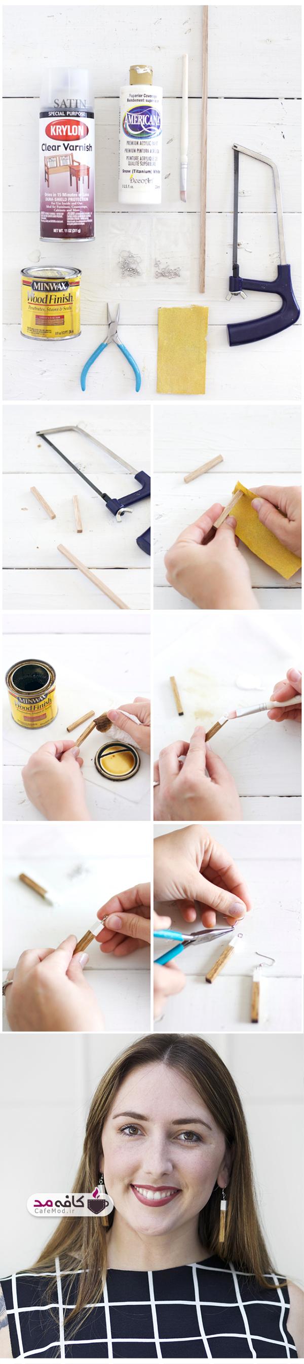 آموزش ساخت گوشواره چوبی