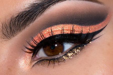 آموزش آرایش نارنجی طلایی چشم  2