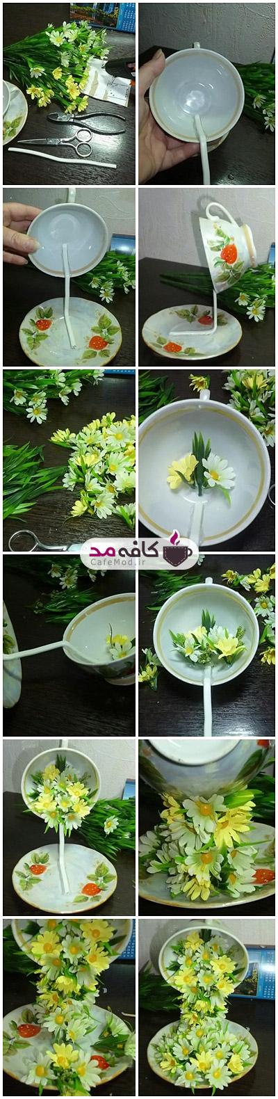 آموزش ساخت فنجان گل دکوری