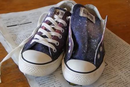 فیلم آموزش طرح کهکشان روی کفش