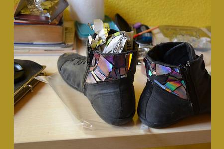 آموزش تزیین کفش کهنه 2