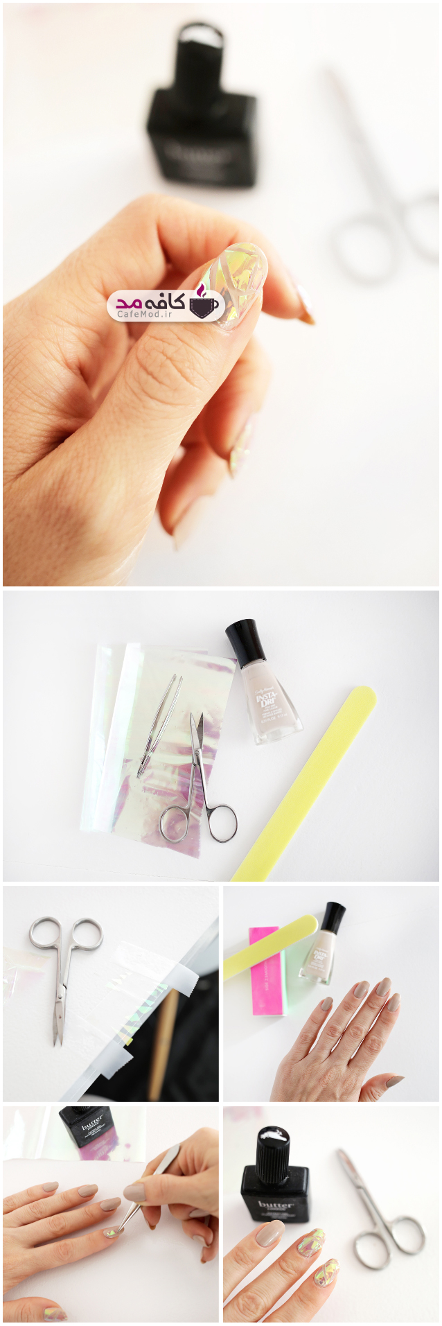 آموزش تصویری طرح آینه روی ناخن