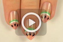 فیلم آرایش ناخن هندوانه ای