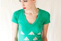 آموزش طرح مثلثی بر روی تیشرت ساده