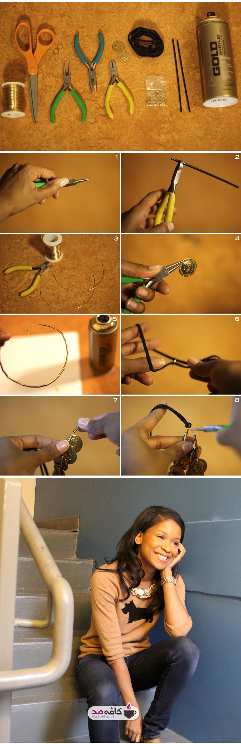 آموزش تصویری ساخت گردنبند پولی
