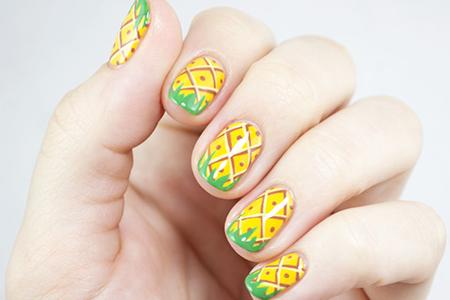 آموزش تصویری طراحی ناخن آناناسی 2