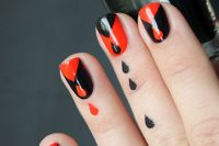 آموزش آرایش ناخن مشکی و قرمز