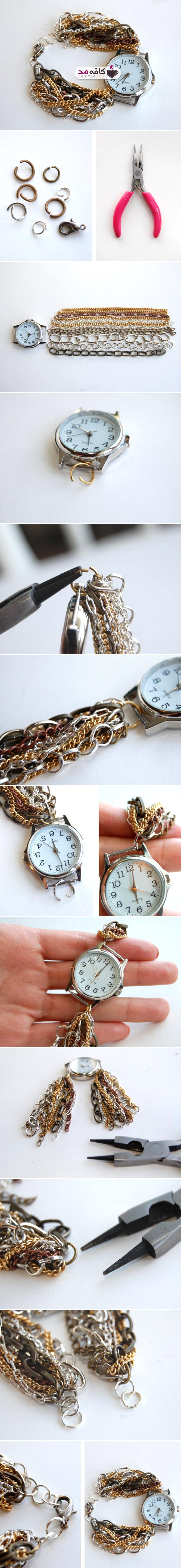 آموزش تصویری تزیین ساعت با زنجیر