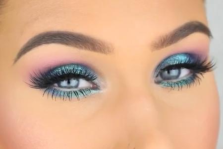 فیلم آرایش چشم با سایه های آبی