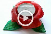 فیلم ساخت جا شمعی گل رز خمیری