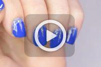 فیلم آموزش آرایش ناخن آبی زر دار