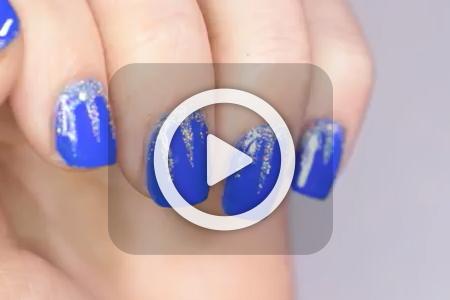 فیلم آموزش طراحی ناخن با لاک آبی 2