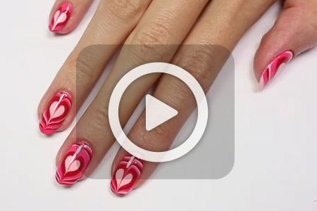 فیلم آرایش ناخن طرح قلب با لاک و آب