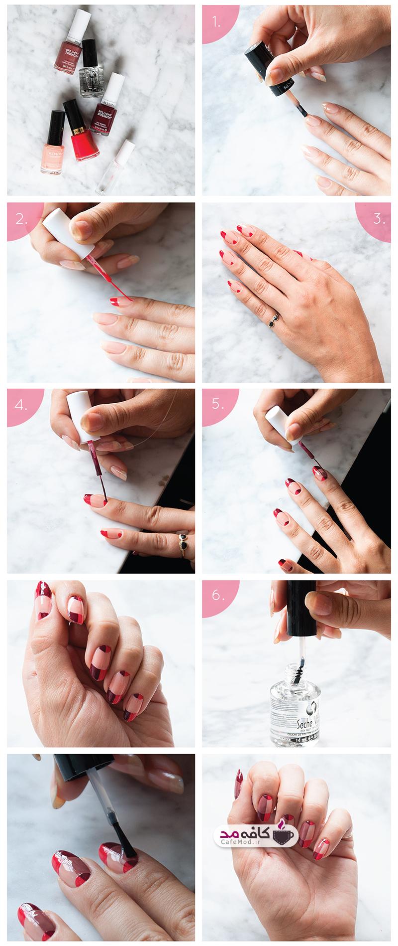 آموزش آرایش ناخن دو رنگ
