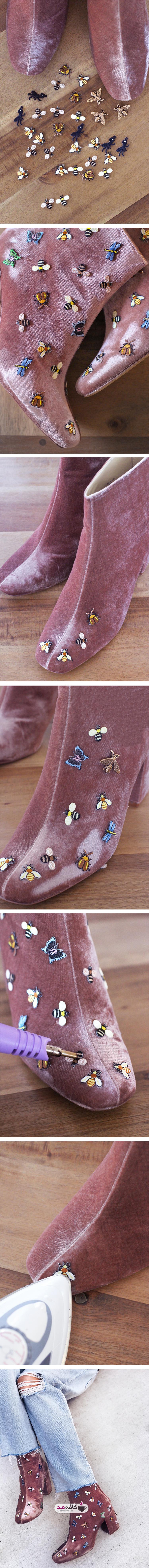 آموزش تزیین کفش با تکه های گل و حشرات
