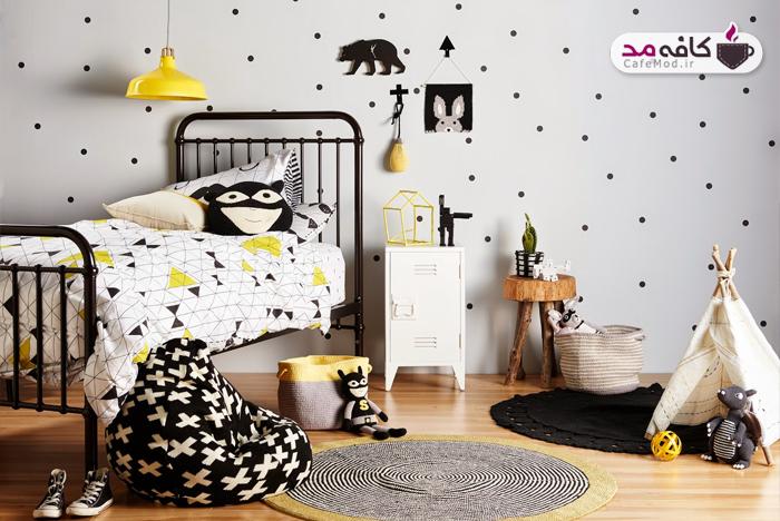 دکوراسیون سیاه و سفید اتاق کودک