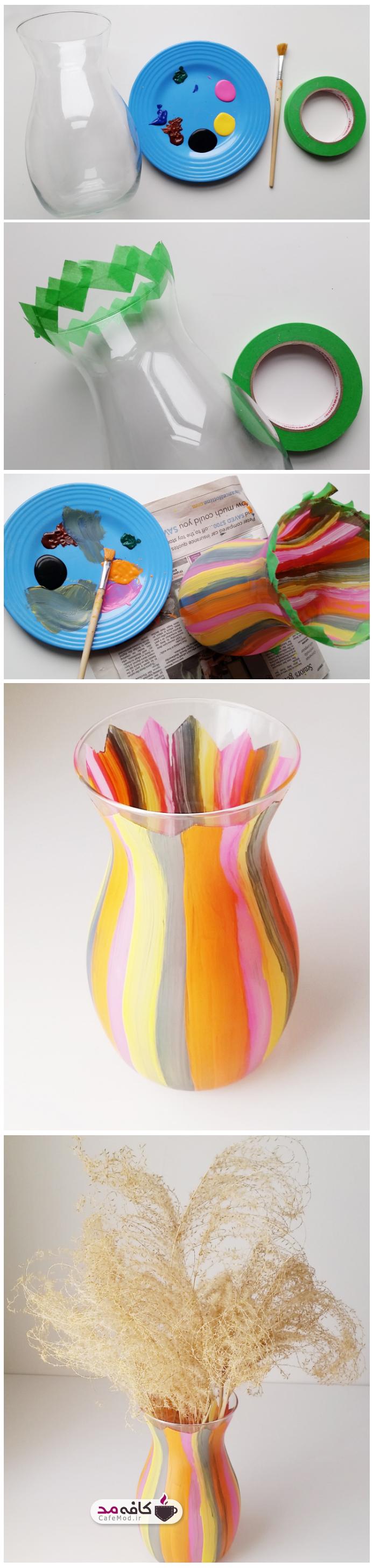 آموزش نقاشی روی گلدان شیشه ای