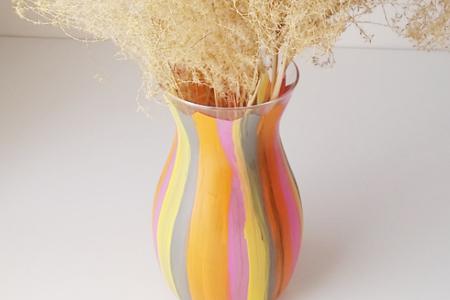 آموزش نقاشی روی گلدان شیشه ای 2