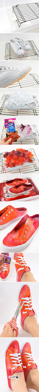 آموزش رنگ آمیزی کفش با یخ