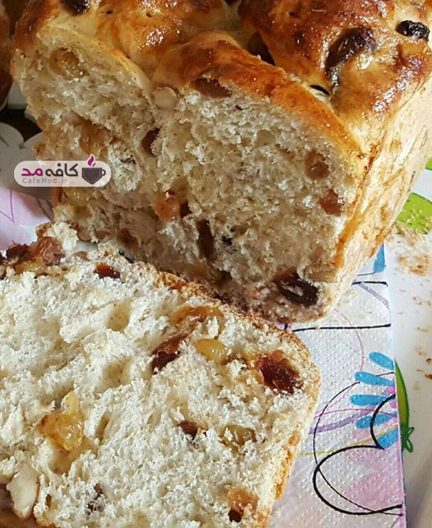 آموزش پخت نان کشمش و گردو