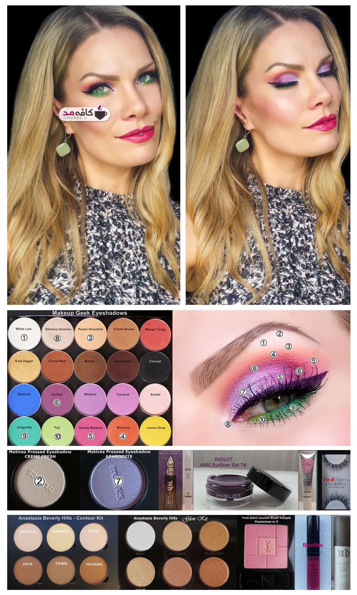 آموزش آرایش چشم با رنگ های شاد