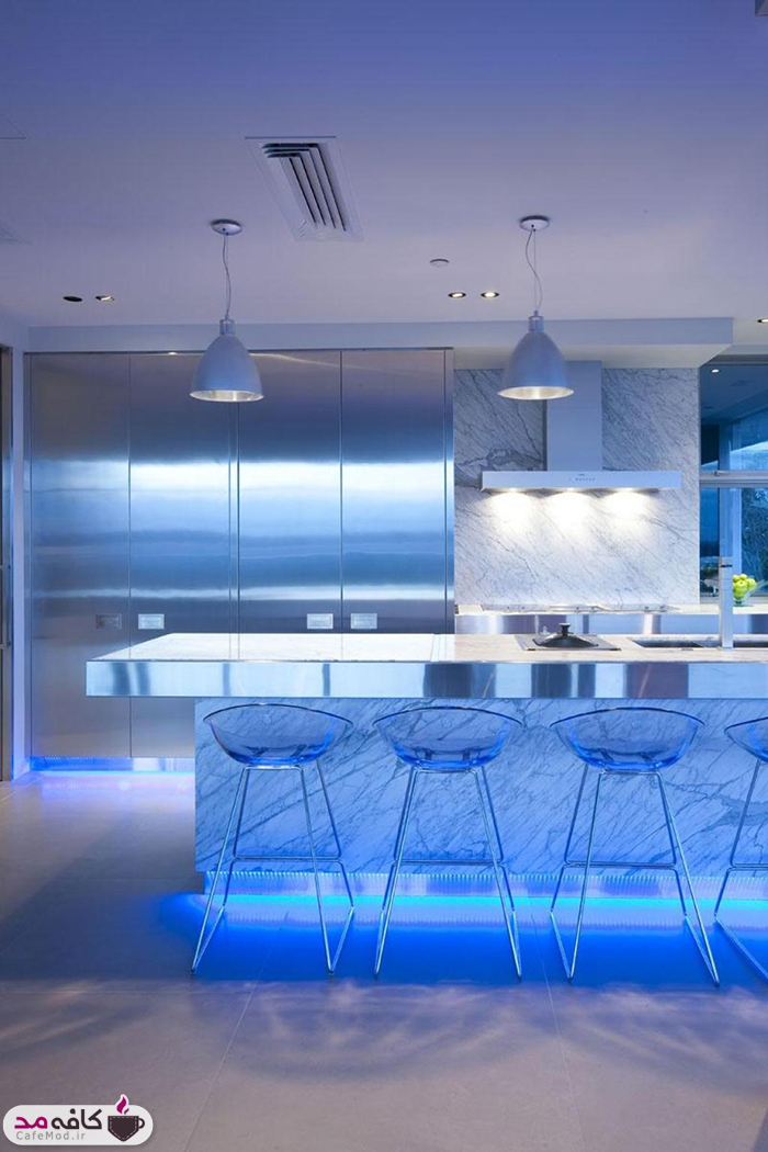 دکوراسیون آبی رنگِ آشپزخانه های رویایی