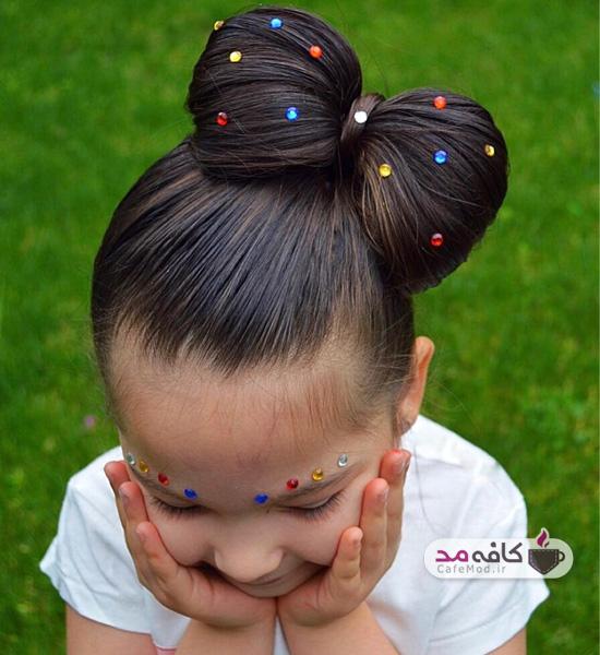 مدل شینیون مو کودک