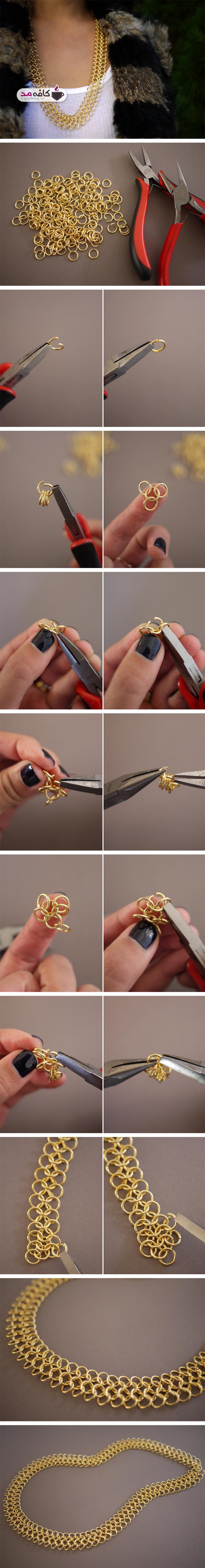 آموزش ساخت گردنبند با حلقه های ریز