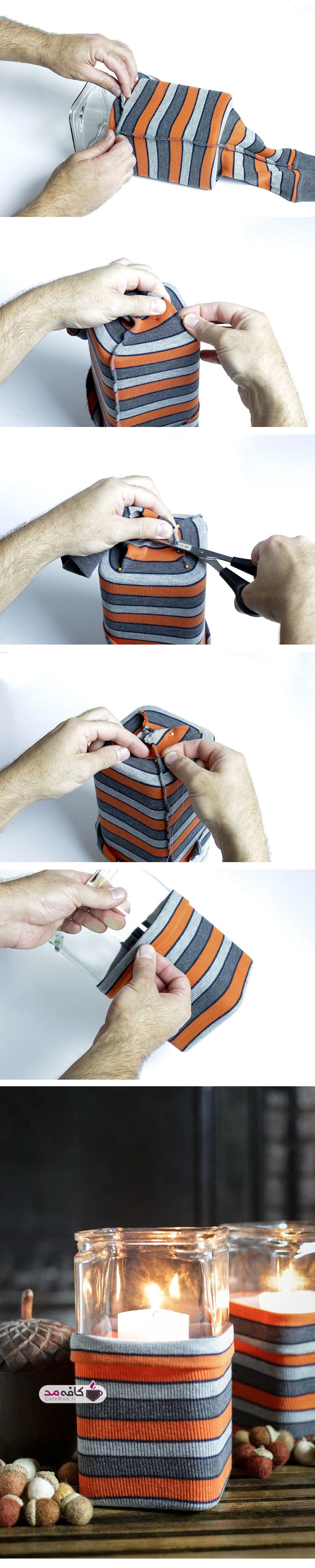 آموزش ساخت جاشمعی با آستین لباس بافتنی