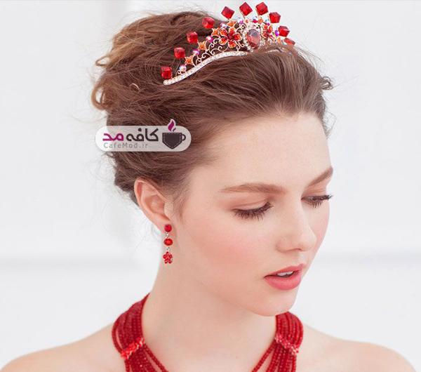 مدل های بسیار زیبا از تاج عروس قرمز