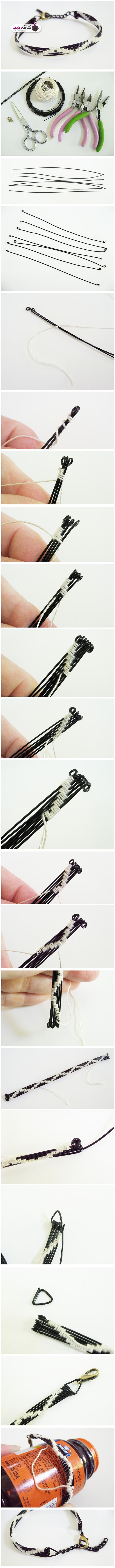 آموزش تصویری ساخت دستبند با سیم