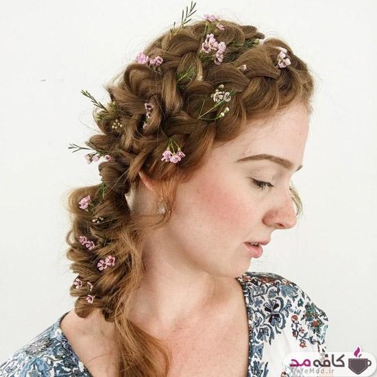 آرایش مو و شینیون با گل طبیعی