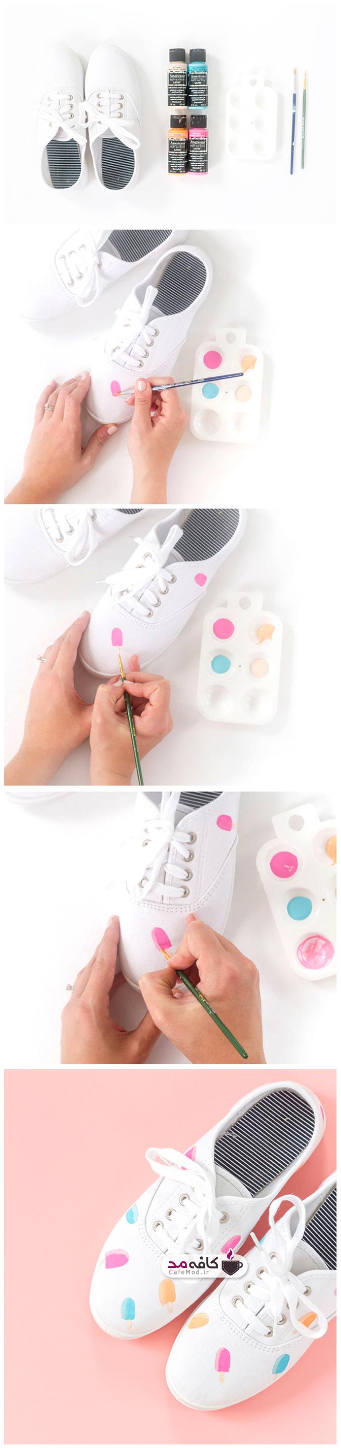 آموزش تصویری نقاشی طرح بستنی روی کفش