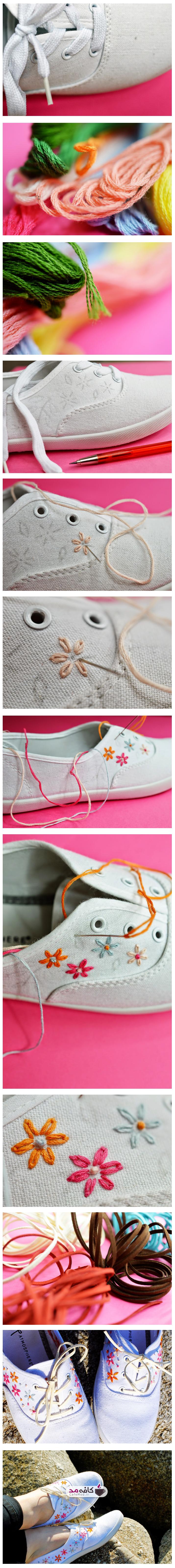 آموزش گلدوزی روی کفش ساده