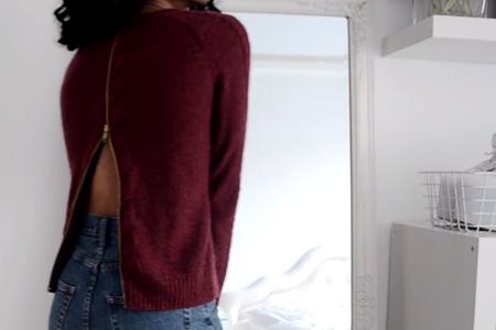 فیلم آموزش تغییر لباس بافتنی با زیپ