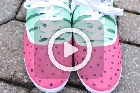 فیلم آموزش طرح هندوانه روی کفش