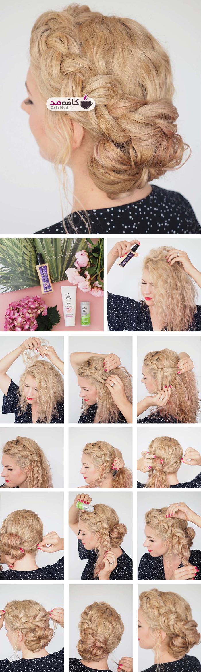 آموزش بافت و بستن مو برای مهمانی